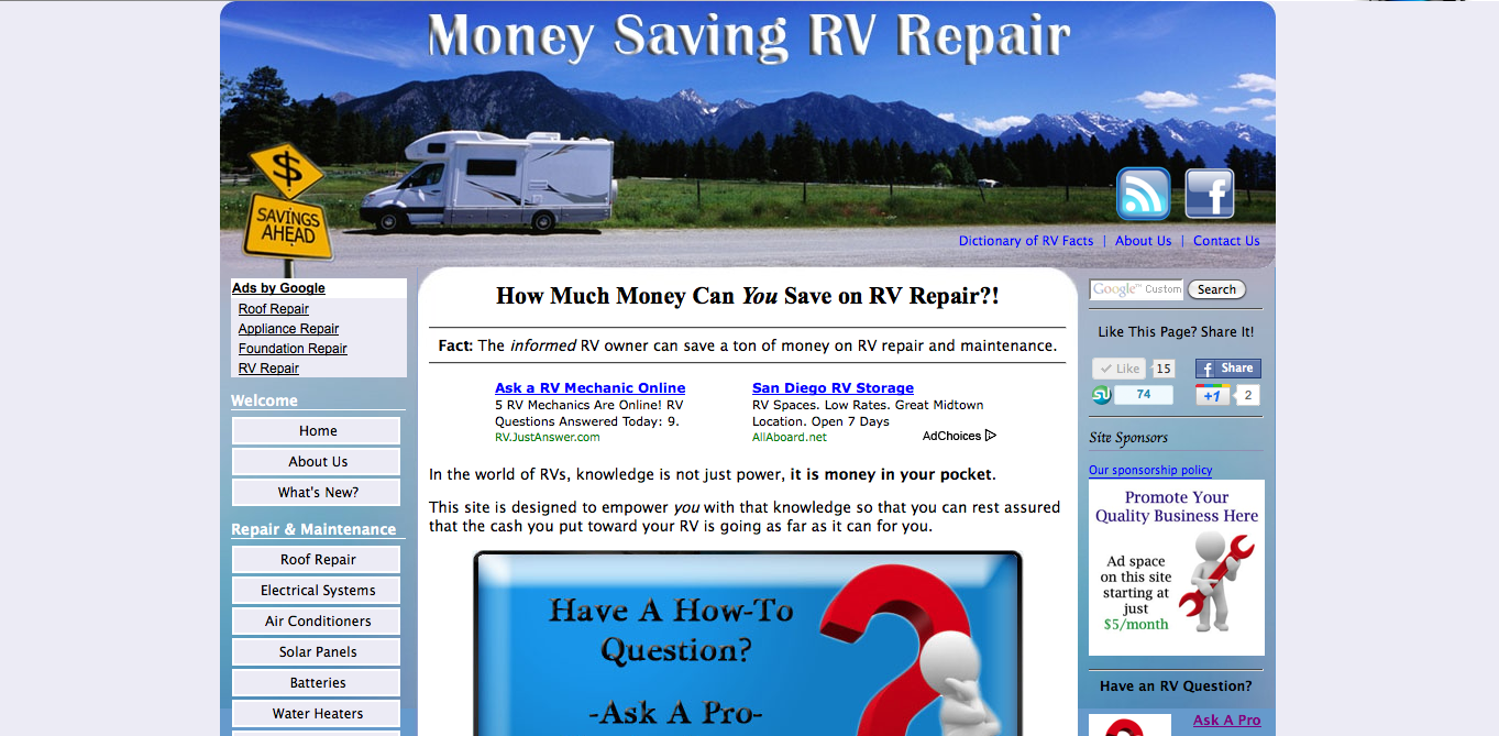 Money Saving RV Repair